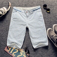 2016 Summer Men Fashion Slim Fit Plaid Short Trousers Pencil Pants Casual Shorts