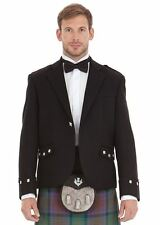 Men New Black Scottish Argyle Kilt Jacket with Waistcoat 100% Wool