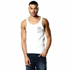883 Police Cardinal Mens White Tank Top Sleeveless Shirt Vest Cotton Chest Logo