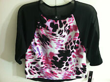 IZ Amy Byer Pink/Black Print Sweater Knit Top Girls Sz.M L,XL NWT