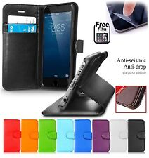 LEATHER Book FLIP Phone WALLET CASE COVER FOR APPLE iPhone Mobile + Protector