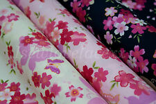 Beautiful Floral Fabric By the M~100% Cotton~Craft~Dress~Flowers & Butterflies!