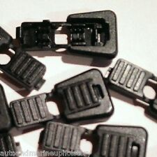 (10) Black Plastic Zipper Pulls Cord Lock Ends Paracord Tactical Tab Repair  #12