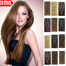 "BEST Selling Clip In 100% Remy Human Hair Extensions Full Head 16-18"" 20"" 22"" C2"