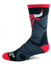 Chicago Bulls Adult Crew Socks Mega Logo Black Red Logo Top Leg Name on Toes
