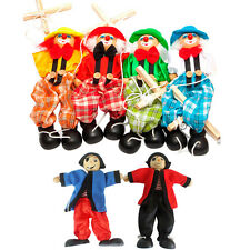 Kids Pull String Puppet Clown Wooden Marionette Toy Joint Activity Doll Vintage