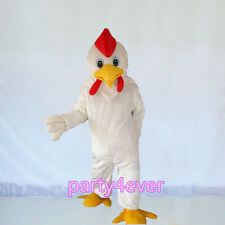 【SALE】 New White Chicken Rooster Mascot Costume Halloween Dress Adult Size