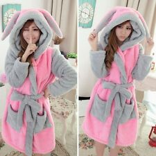 New Womens Winter Hooded Nightgown Pajamas Cartoon Bathrobe Coral Warm Sleepwear