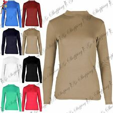 Ladies Turtle Neck T Shirt Soft Viscose Womens Baggy Full Sleeve Top Jersey 8-26