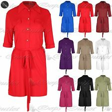 Ladies Tie Shift Shirt Collared Neck Turn Up Womens Golden Buttons Mini Dress