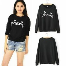 Cute MEOW Print Women Casual Long Sleeve T-Shirts Tops Blouse Sweatshirt Sweater