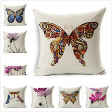"""Pillow Case Cover Flowers and Butterflies 18"""" Cushion Throw Cotton Linen Cover"""