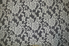 """OFF WHITE SOFT LACE FABRIC SCALLOPED EDGE FLORAL PATTERN BY THE METRE 56"""" WIDTH"""