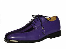 Expressions 4925 Mens Rich Purple Satin Modern Formal Tuxedo Tux Dress Shoes