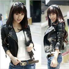 Women Jacket PU Casual Leather Outerwear Oblique Zipper Slim Motorcycle PU Coats