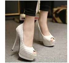 Sexy Fashion Womens Platform Pumps Wedge High Heels Shoes Black / White UK Size