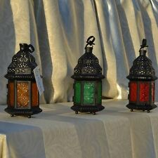 new Glass Metal Moroccan Delight Garden Candle Holder Table/hanging Lantern