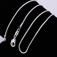 Snake Chain Fashion Jewelry 925 Sterling Silver Plated 1MM Pendant Necklace