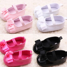 Baby Girl Kid Mary Jane Shoes Children Ribbon Flower Soft Sole Infant Crib Shoes