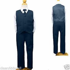 Boys Navy Blue 4 PC Vest Suit Set size S M L XL 2T 3T 4T 5 6 7 New Suit Tuxedo