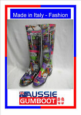 Italian Ladies Gumboots Comic Size 5 6 7 8 9 10 Wellies Gum Boots Womens NEW