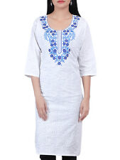Indian Women's Cotton Embroidered Kurti Kameez Top Ethnic Dress Plain Top Tunic