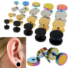 2Pcs of Cheater faux fake Ear Plugs Gauges Tapers Gold Black Stainless Steel JF
