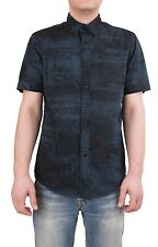 Affliction Men's Short Sleeve Shirt Snap Button Front Reversible Navy Blue New