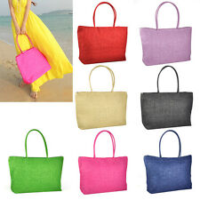 Lady Women Straw Weaving Summer Beach Tote Bag Shopping Travelling Handbag N3