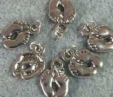 Baby Feet Charms - Baby Shower Gifts  Silver Jump Rings attached new