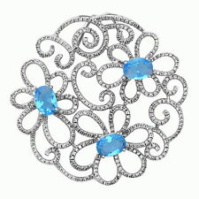 Large Elegant Flower Pendant Necklace .925 Sterling Silver Hand Set