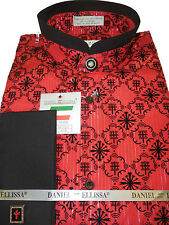 Mens Red & Black Banded Collarless Nehru French Cuff Shirt New Edition DS2008C