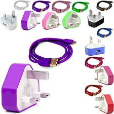 CE COLOUR PLUG MAINS USB CHARGER+DATA CABLE FOR APPLE IPHONE 3GS 4S 4GS