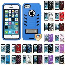 For Apple iPhone 5s/5 Hybrid TUFF Armor Shockproof Rugged Hard Soft Case Cover