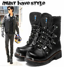 100% Leather--2016 ROCK Fashion Winter MAN PUNK COOL Motorcycle ARMY SHOE boot