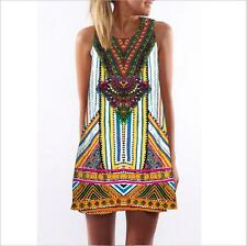 2016 summer  digital printing round neck dress beach skirt sleeveless casual