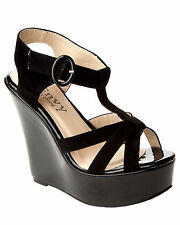 WOMENS BLACK PLATFORM WEDGE STRAPPY CASUAL SUMMER SANDALS SHOES LADIES SIZE 3-8