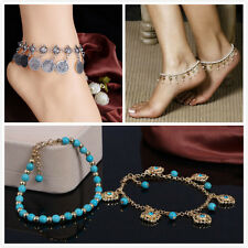 Fashion Retro Boho Silver Coin Anklet / Double Turquoise Bracelet Foot Chain