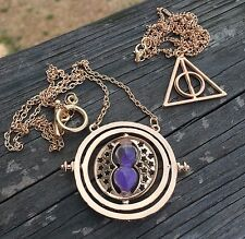 Harry Potter Time Turner Rotating Necklace Hourglass Spinning Pendant New Purple