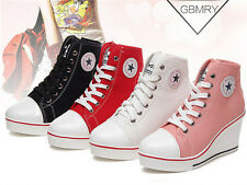 Fashion Women Shoes Canvas High Top Wedge Heel Lace Up Fashion Sneakers US 5-10