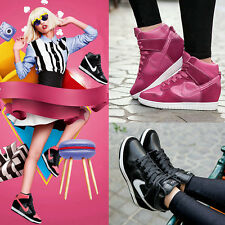 US5-8 Womens High Heel Platform Wedges Hi Top Fashion Sneaker Lace Up Ankle Boot
