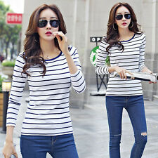 Korean Fashion Womens Slim Stripe Crew Neck Career Tops Blouse T-shirt S-2XL