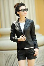 2016 Women suit autumn jacket women leather jacket round Neck Button jacket