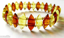 Genuine Baltic amber bracelet, light multicolour diamond shape nuggets, jewelry