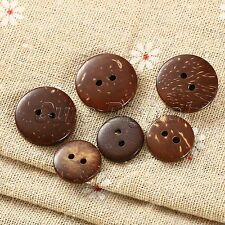 100pcs/lot Brown Coconut Shell 2 Holes Round Sewing Buttons Scrapbooking Crafts