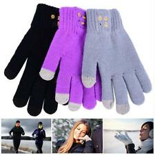 Bluetooth Touch Screen Warm Winter Knitted Gloves Mic Headset For Iphone Black