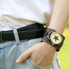 Cool Style Retro Punk Rock Big Widen Leather Bracelet Cuff Men Bracelet Watches
