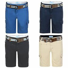 Boys Champs Print Cotton Shorts Kids Belted Multipocket Combat Pants 3-14 Years
