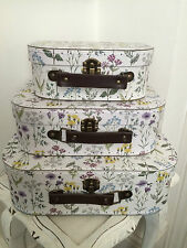 Set of 3 pretty wild flower vanity case cases suitcase style gift/storage boxes
