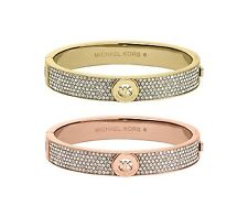 NEW MICHAEL KORS ROSE GOLD & GOLD CZ CRYSTAL PAVE LOGO HINGE BANGLE BRACELET